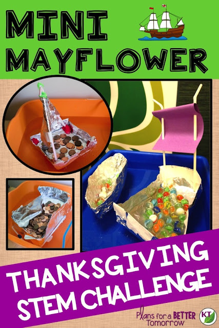 Thanksgiving STEM Challenge: Build a mini Mayflower for capacity and/or strength and sail to the New World. Includes modifications grades 2 - 8.