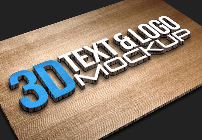 3D Stereo Texture Logo Sticker Mockup Display