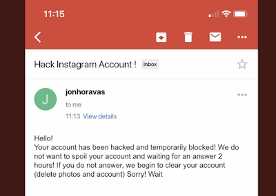 Screenshot of a message reading: Your account has been hacked and temporarily blocked. Waiting for an answer 2 hours! If no answer, we begin to clear your account.