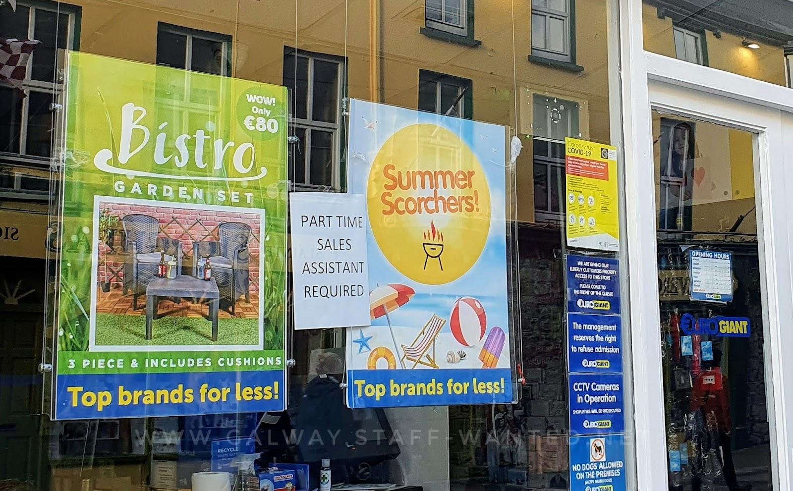 shop window signs in Euro Giant discount store:  Biistrol garden  3 piece furniture set