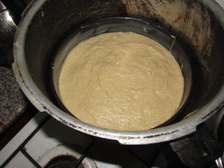 NUT MEG CAKE BATTER IN THE PRESSURE COOKER
