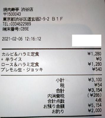 焼肉寿亭 渋谷店 2021/2/6 飲食のレシート