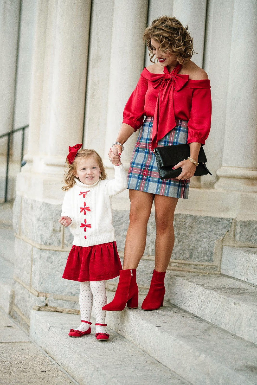 Mommy & Me Dressed in Bows: Under $100 Bow Top + Plaid Skirt - Something Delightful Blog