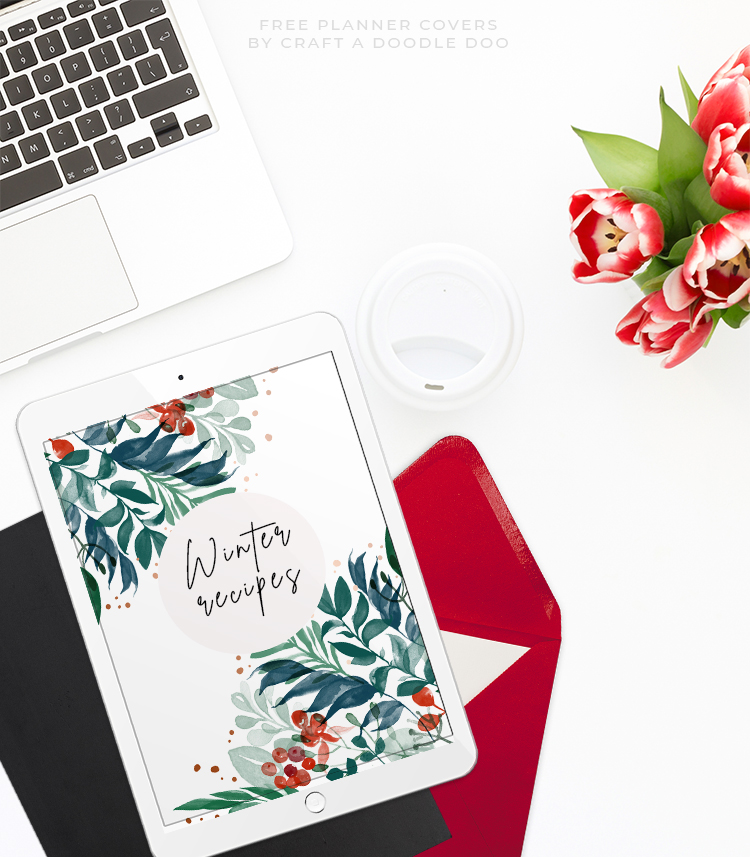 Free Printable Watercolor Winter Planner Covers, Holiday Binder Organizers by Craft A Doodle Doo, DIgital download