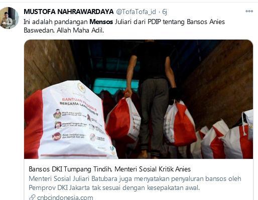 Terkait Bansos, Juliari Pernah Semprot Anies Begini, Sekarang Malah Terpeleset Sendiri, Netizen: Allah Maha Adil