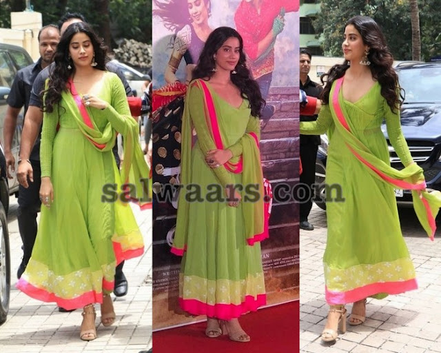 Jhanvi Kapoor Green Salwar