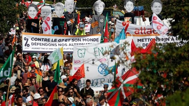 Protesters demand action from G7 leaders in French coastal resort of Biarritz