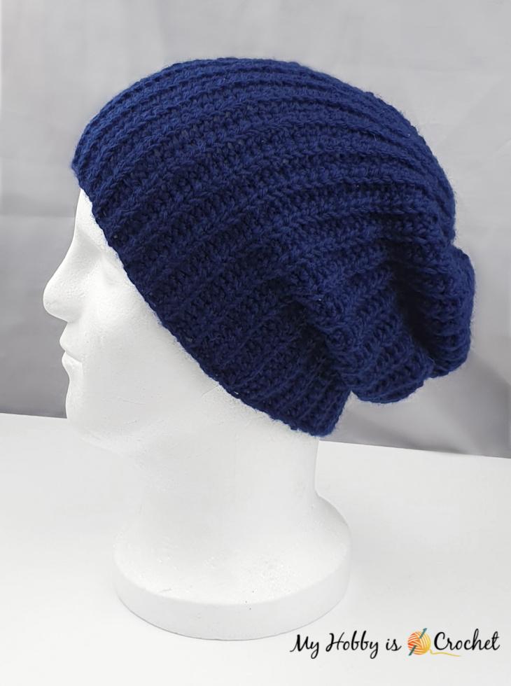 slouchy knit look crochet rib hat