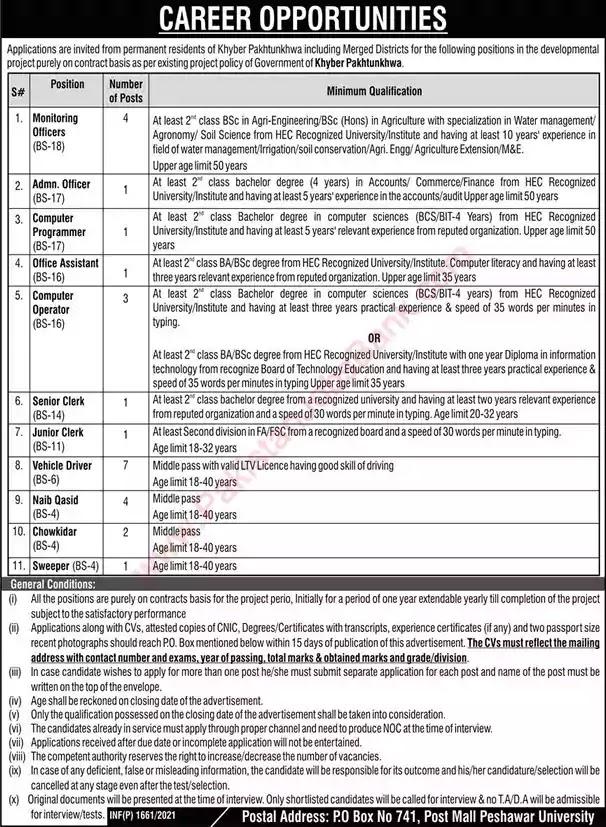 New Jobs in Pakistan PO Box 741 GPO Peshawar Kpk Jobs 2021