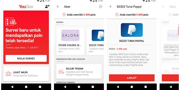 Aplikasi Yougov Penghasil Uang Gratis dari Android