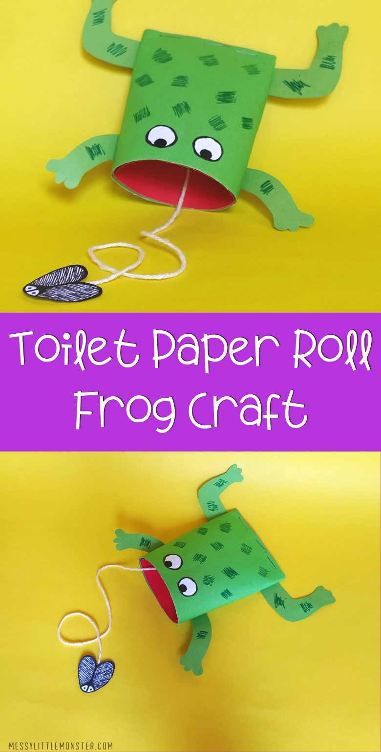 Toilet paper roll frog craft for kids.