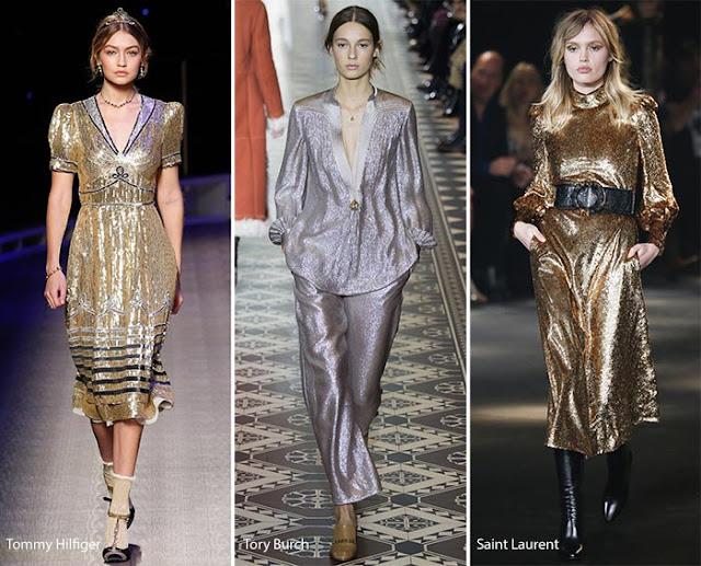 Платья и костюм из металлизированной ткани образы с подиума