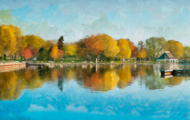 Painting of Couchiching Beach Park in Orillia in the fall, showing part of the Port, the picnic pavilion, the boardwalk and park area.