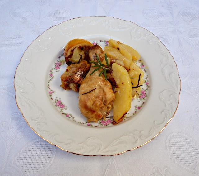 receta casera pollo, asado, horno, limón, patatas