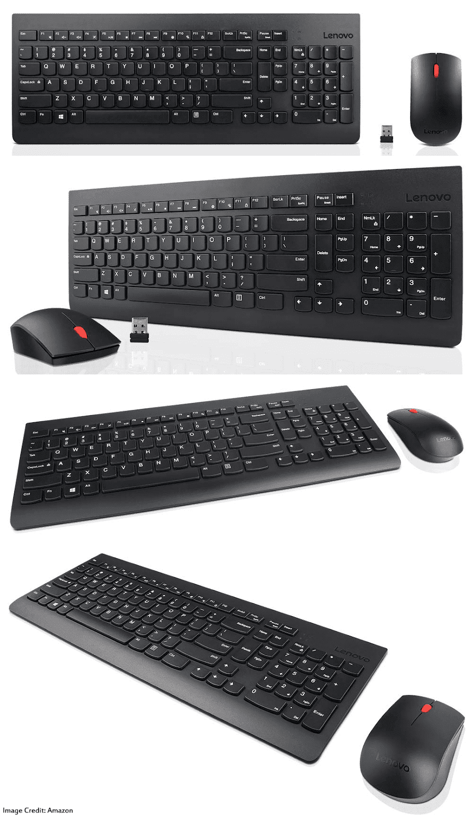 The image of a Lenovo 510 black wireless keyboard and mouse combo. Its color is black. Moreover, this wireless combo comes with a 1 year of warranty.