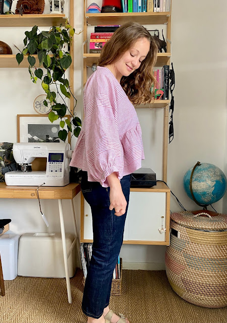 Diary of a Chain Stitcher: Birgitta Helmersson Zero Waste Gather Dress Top in Yarn Dyed Linen from The Fabric Store