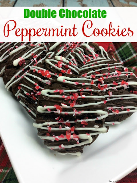 Double Chocolate Peppermint Cookies recipe from Served Up With Love is Christmas all wrapped up in a cookie!