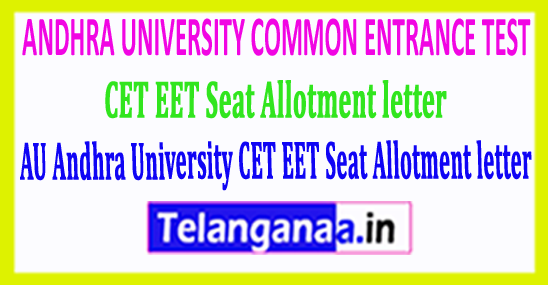 AU Andhra University CET EET Seat Allotment letter 2018 Download
