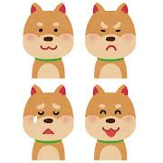 いろいろな表情の犬のイラスト「笑顔・怒り顔・泣き顔・笑い顔」