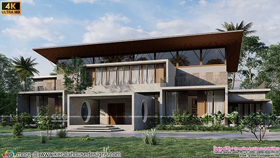 Tropical super luxury flat roof house front elevation