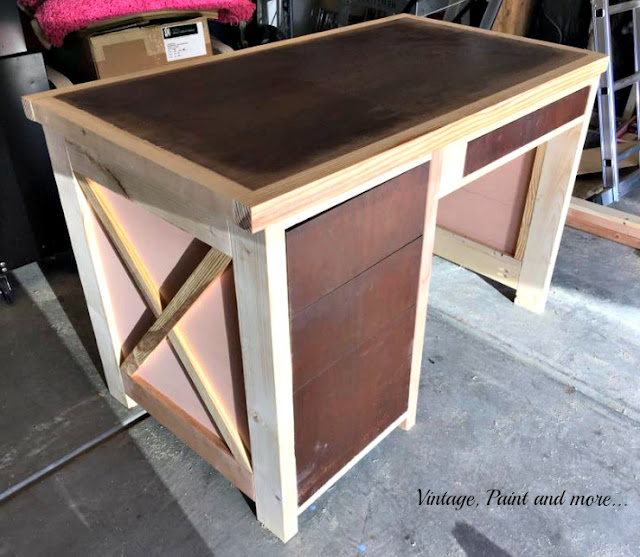 diy desk with old thrifted desk incorporated into it