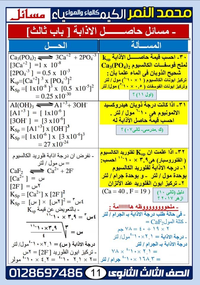 توقعات امتحان الكيمياء للثانوية العامة مستر محمد النمر 1