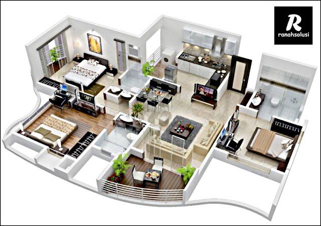 Denah Rumah Minimalis 3 Kamar Tidur 2 Lantai