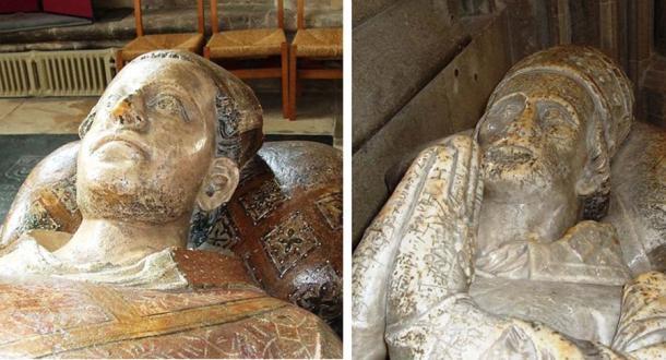 Il palazzo vescovile è stato collegato al vescovo John Drokensford ( Dominio Pubblico ) a destra, e a Ralph di Shrewsbury ( Dominio Pubblico ), a sinistra.