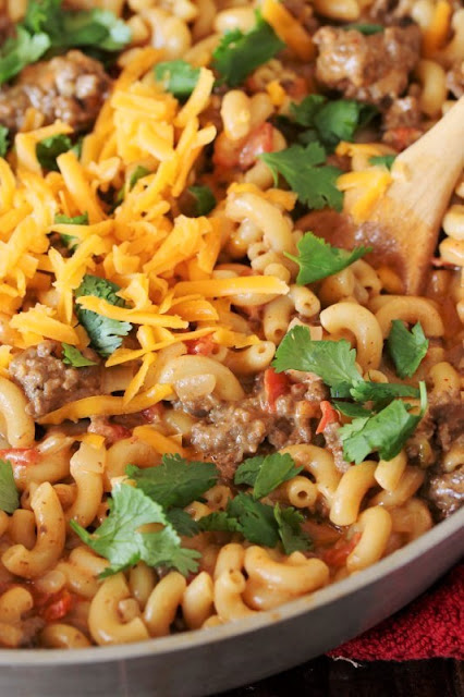 Skillet of Chili Cheese Mac One-Pot Meal Image
