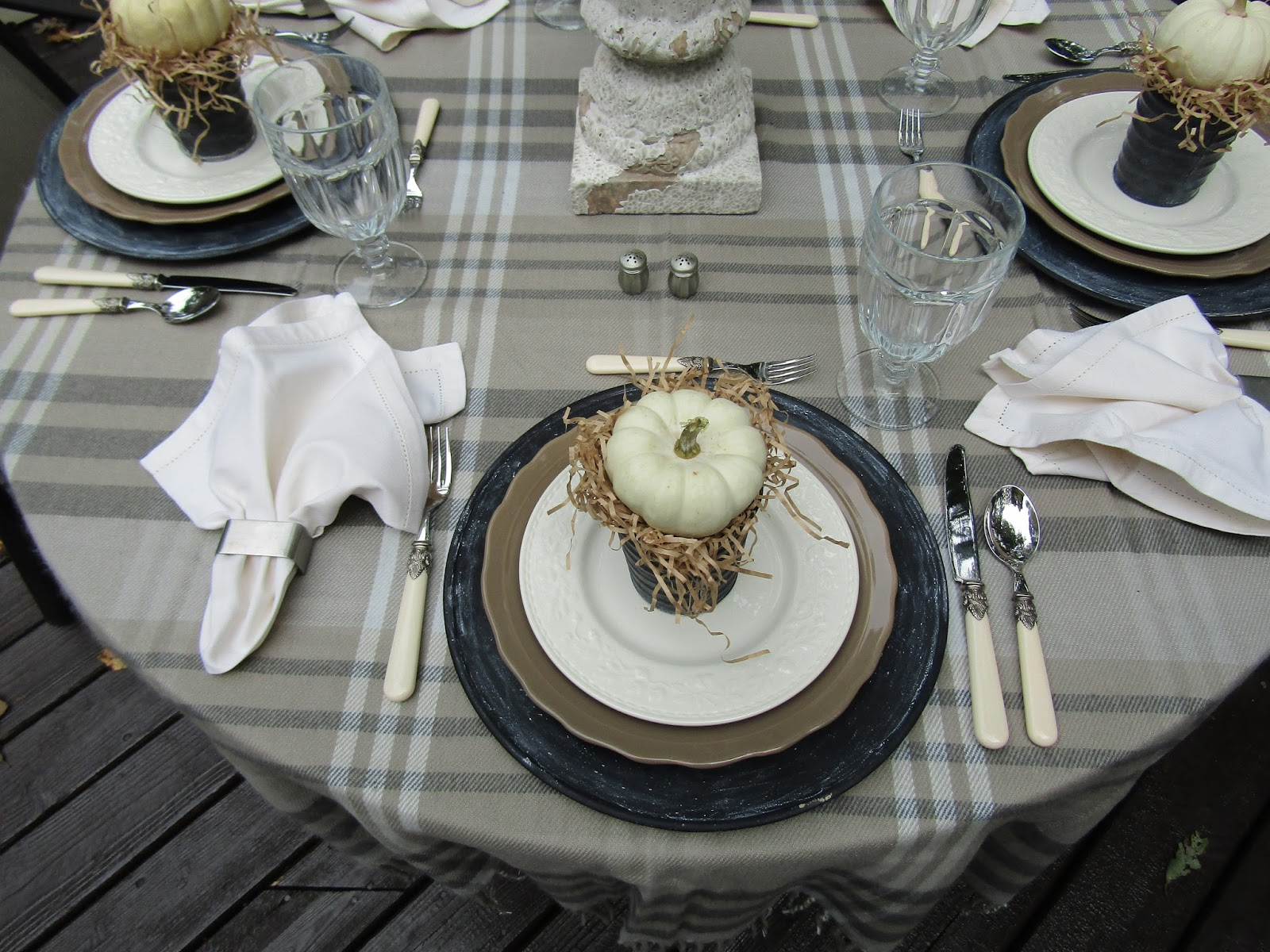 A Toile Tale Plaid Pewter And Pumpkins