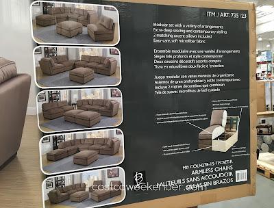 Bainbridge 7-piece Modular Fabric Sectional features armless chairs