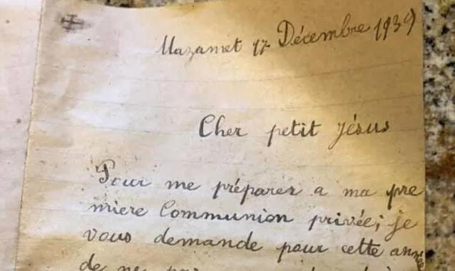 Carta de menino de 7 anos para Jesus, escrita na 2ª Guerra Mundial, é encontrada na França