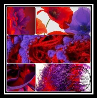 Voorbeelden van helder rood met paars. Examples of bright red with purple.