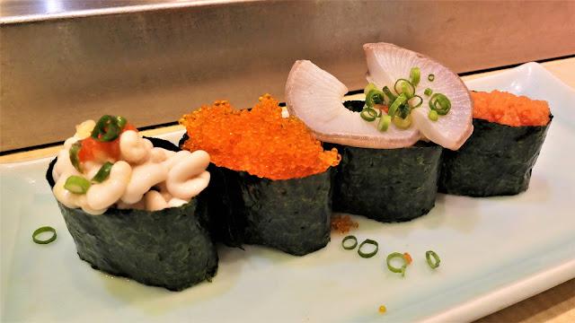 飛魚子壽司、八爪魚吸盤壽司