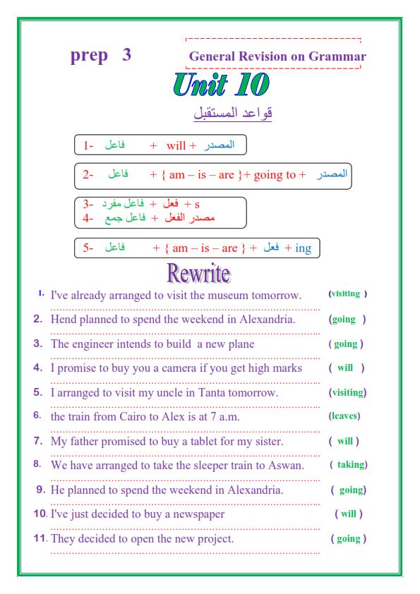 مراجعة قواعد اللغة الإنجليزية للصف الثالث الاعدادي الترم الثاني في 14 ورقة تحفة 4_001