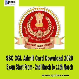SSC CGL Admit Card Download 2020 - Region wise