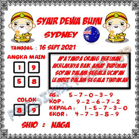 Syair Dewa Bumi Sidney Hari Ini 16-09-2021