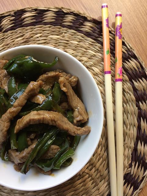 receta china de ternera con pimientos verdes