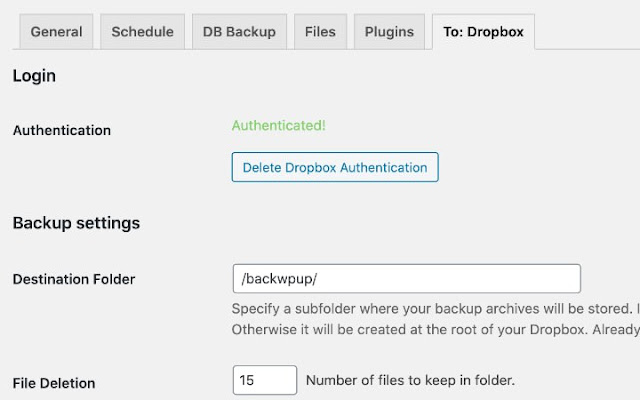 halaman otentikasi Dropbox