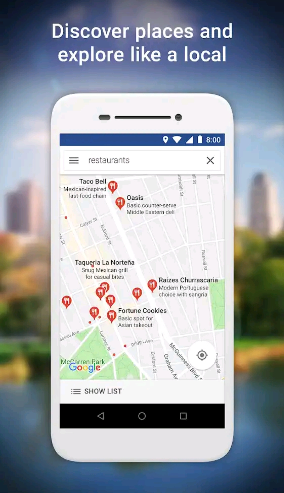 Real-time GPS navigation & local suggestions for food, events, & activities
