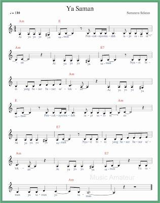 not balok lagu ya saman 2