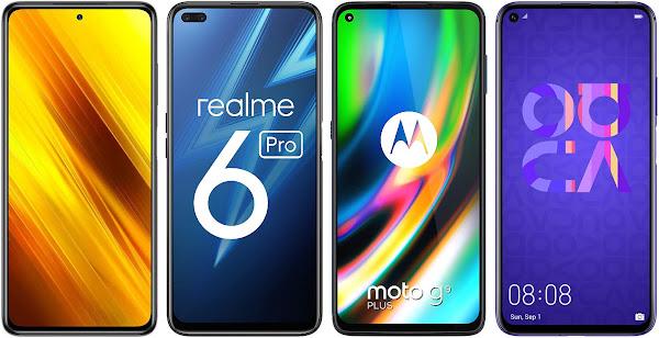 Xiaomi POCO X3 NFC 128 GB vs Realme 6 Pro (6 GB RAM) vs Motorola Moto G9 Plus vs Huawei Nova 5T