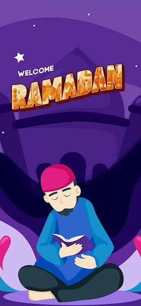 خلفية عبارة أهلا رمضان باللغة الانجليزي بخلفية بنفسجية