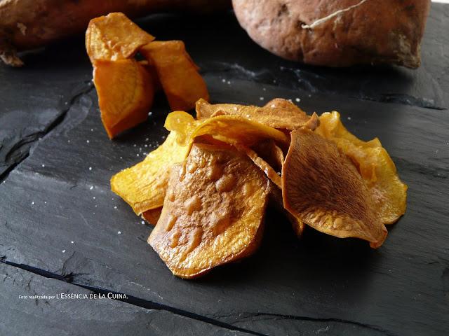 Xips de Moniato, chips de boniato, cuina facil, cuina casolana, l'essència de la cuina, blog de cuina de la sonia