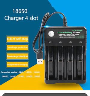 alimentatore cariatore per batterie litio 18650