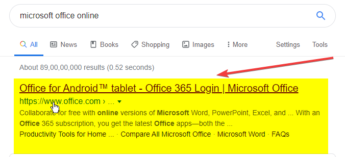 google-search-on-microsoft-office-online-version