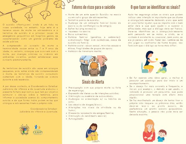 TJ-PI elabora material informativo de prevenção ao suicídio infantojuventil