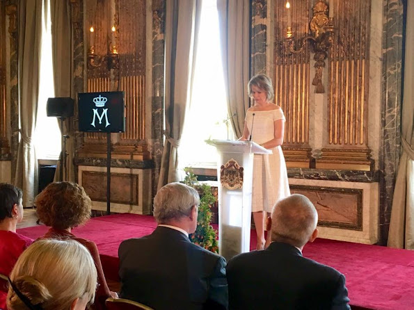 "Queen Mathilde of Belgium presented the 2016 ""Queen Mathilde Prize"" in a ceremony held at the Royal Palace in Brussels. Natan Dress, Jewelery"