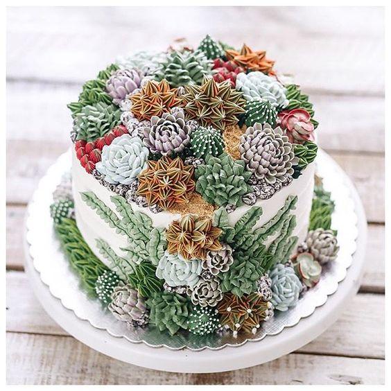 bolo decorado terrarium