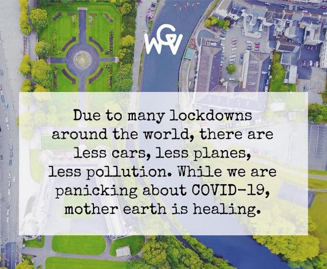 由於許多地方都實施封鎖。開車、搭飛機的人變少了,汙染也跟著減輕了。